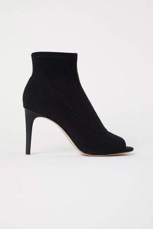 Peep-toe Ankle Boots - Black