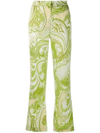 Etro Paisley-print Silk Satin-jacquard High-rise Straight-leg Pants In Green
