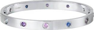 CRB6036317 - Bracelet LOVE - Or gris, aigues-marines, saphirs, spinelles, améthystes - Cartier