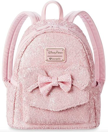 Disney Parks Loungefly Millennial Pink Minnie Mouse Sequin Mini Backpack | Casual Daypacks