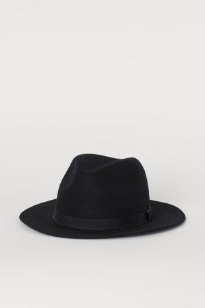 Шляпа из шерстяного фетра - Черный - Мужчины   H&M RU