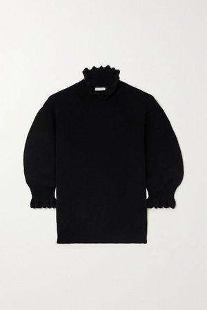 Black Scalloped wool-blend sweater | Chloé | NET-A-PORTER