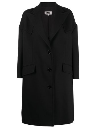 Black MM6 Maison Margiela Studio coat S62AA0032S47850 - Farfetch