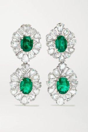 White gold 18-karat white gold, diamond and emerald earrings   Lorraine Schwartz   NET-A-PORTER