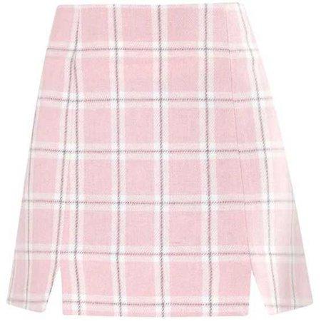 Pink Check Notch Mini Skirt