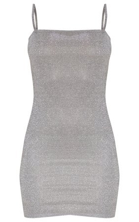 Silver Glitter Strappy Square Neck Bodycon Dres   PrettyLittleThing