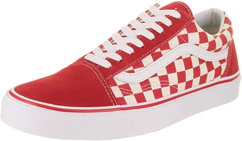 Amazon.com | Vans Mens Old Skool Primary Check Racing RED White Size 9 | Skateboarding