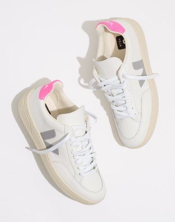 Veja Leather V-12 Lace-Up Sneakers in White and Natural