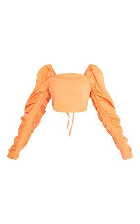 Orange Cotton Extreme Puff Ruffle Sleeve Crop Top | PrettyLittleThing USA