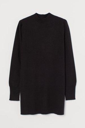 Rib-knit Dress - Black