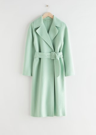 Relaxed Belted Coat - Mint - Woolcoats - & Other Stories