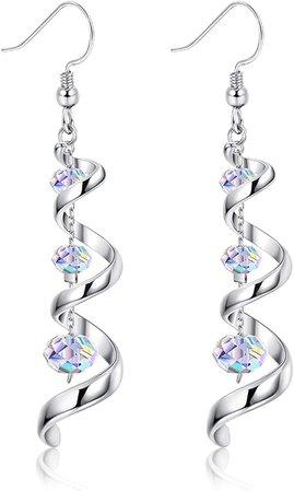 Amazon.com: Sllaiss 925 Sterling Silver Dangle Earrings Swarovski Crystal 18K White Gold Drop Earrings for Women Spiral Ribbon Tassel Earrings for Anniversary Birthday: Clothing