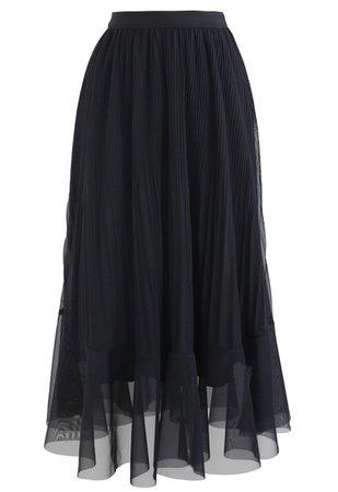 Lightsome Chiffon Pleated Midi Skirt in Black - Retro, Indie and Unique Fashion