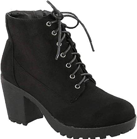 Amazon.com | MVE Shoes Women's Block Heel Lace Up Side Zipper Ankle Boots, Second TOB IMSU 9 | Ankle & Bootie