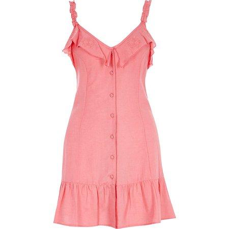 Pink frill button front mini beach dress | River Island