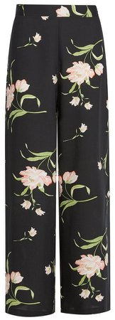 Black Floral Print Palazzo Trousers