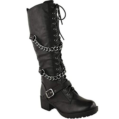 Amazon.com | Fashion Thirsty Womens Knee High Mid Calf Lace Up Biker Punk Military Combat Boots Shoes Size 5 | Mid-Calf