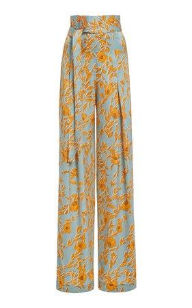 Olan Belted Floral-Print Satin Wide-Leg Pants by Alexis   Moda Operandi