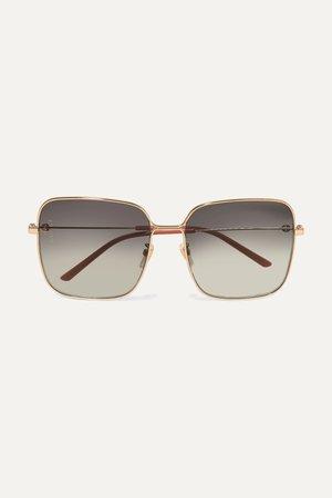 Gray Oversized square-frame gold-tone sunglasses | Gucci | NET-A-PORTER