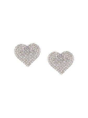 Alessandra Rich Embellished Heart Stud Earrings - Farfetch