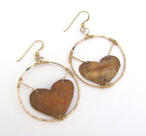 Rustic Copper Earrings Vintage Heart Modernist Hoop Jewelry   Etsy