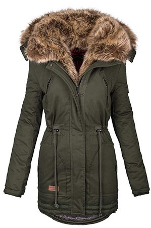 Navahoo warme Damen Winter Jacke Parka lang Mantel Winterjacke Fell Kragen B380: Amazon.de: Bekleidung