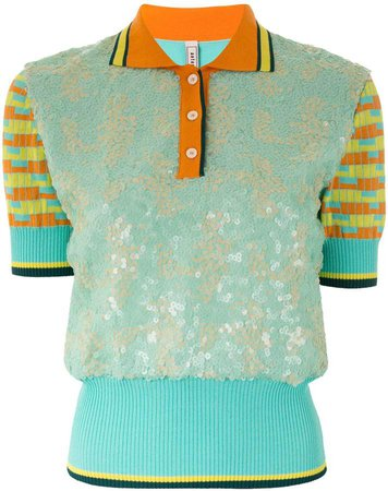 sequinned panel polo top