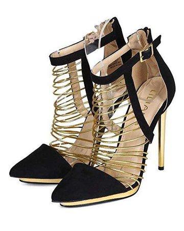 Amazon.com | Liliana Women Suede Pointy Toe Strappy Metallic Staggered Platform Stiletto Pump CB86 - Black (Size: 5.5) | Pumps