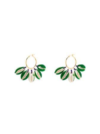 Venessa Arizaga Gold-Plated Palm Tree-Print Shell Earrings Ss20 | Farfetch.Com