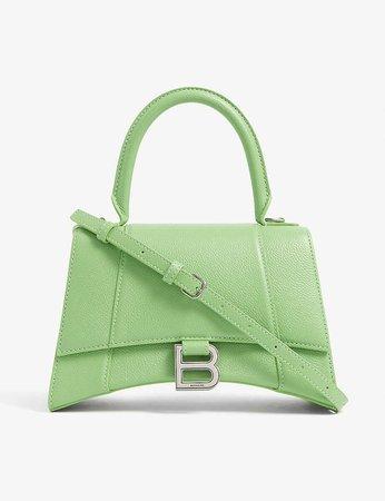 BALENCIAGA - Hourglass small leather top-handle bag | Selfridges.com