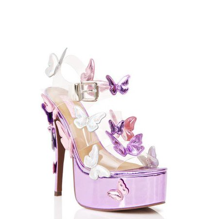 Purple Metallic Garden Flower Heels - Sugar Thrillz