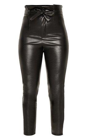 Black Faux Leather Tie Waist Trouser | PrettyLittleThing