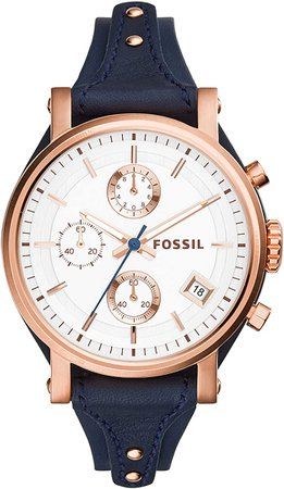 Fossil Women's Original Boyfriend Quartz Stainless Steel and Leather Chronograph Watch, Color: Rose Gold, Navy (Model: ES3838): Fossil: Watches