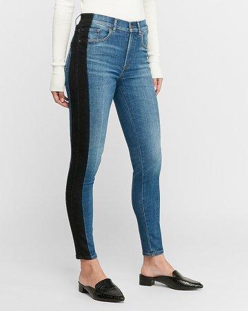 High Waisted Hyper Stretch Black Stripe Ankle Skinny Jeans