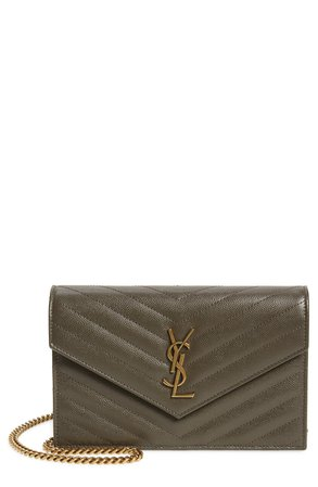 Saint Laurent Monogram Quilted Leather Wallet on a Chain | Nordstrom