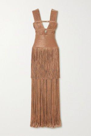 Gold Fringed metallic bandage gown   Hervé Léger   NET-A-PORTER