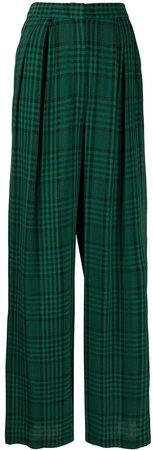 check print wide-leg trousers