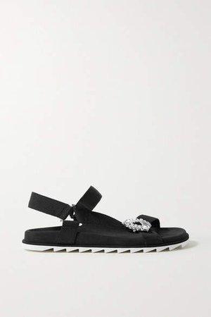 Slidy Espa Crystal-embellished Grosgrain And Suede Sandals - Black