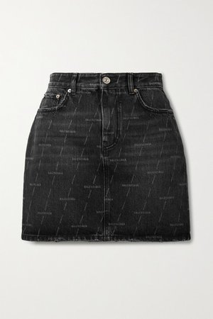 Printed Denim Mini Skirt - Black