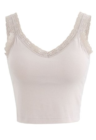 Lace Straps Tank Top in Nude Pink - Retro, Indie and Unique Fashion