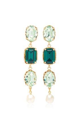 Green Crystal Earrings by Dolce & Gabbana   Moda Operandi