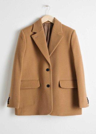 Wool Blend Oversized Blazer - Camel - Blazers - & Other Stories FI