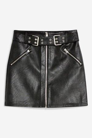 Hardware Belted PU Mini Skirt   Topshop