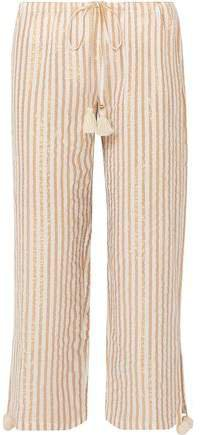 Goa Cropped Striped Cotton And Lurex-blend Wide-leg Pants