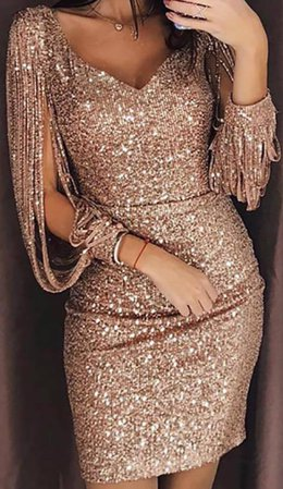sparkling rose gold long sleeve party dress
