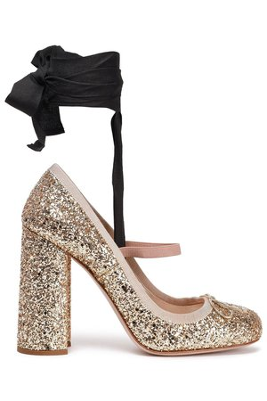 MIU MIU Glittered leather Mary Jane pumps