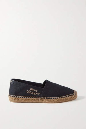 Logo-embroidered Canvas Espadrilles - Black