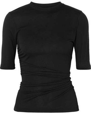 Le Souk Ruched Jersey T-shirt - Black