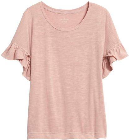 Petite Slub Cotton-Modal Ruffled T-Shirt