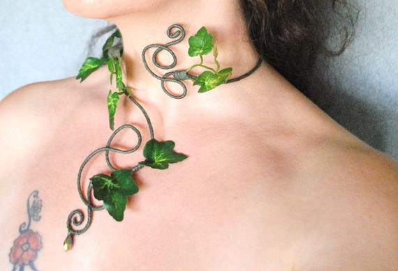 Poison ivy green ivy necklace neck cuff choker woodland forest | Etsy